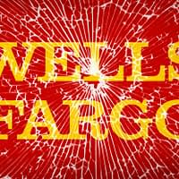 Illustration of Wells Fargo logo behind broken glass screen.