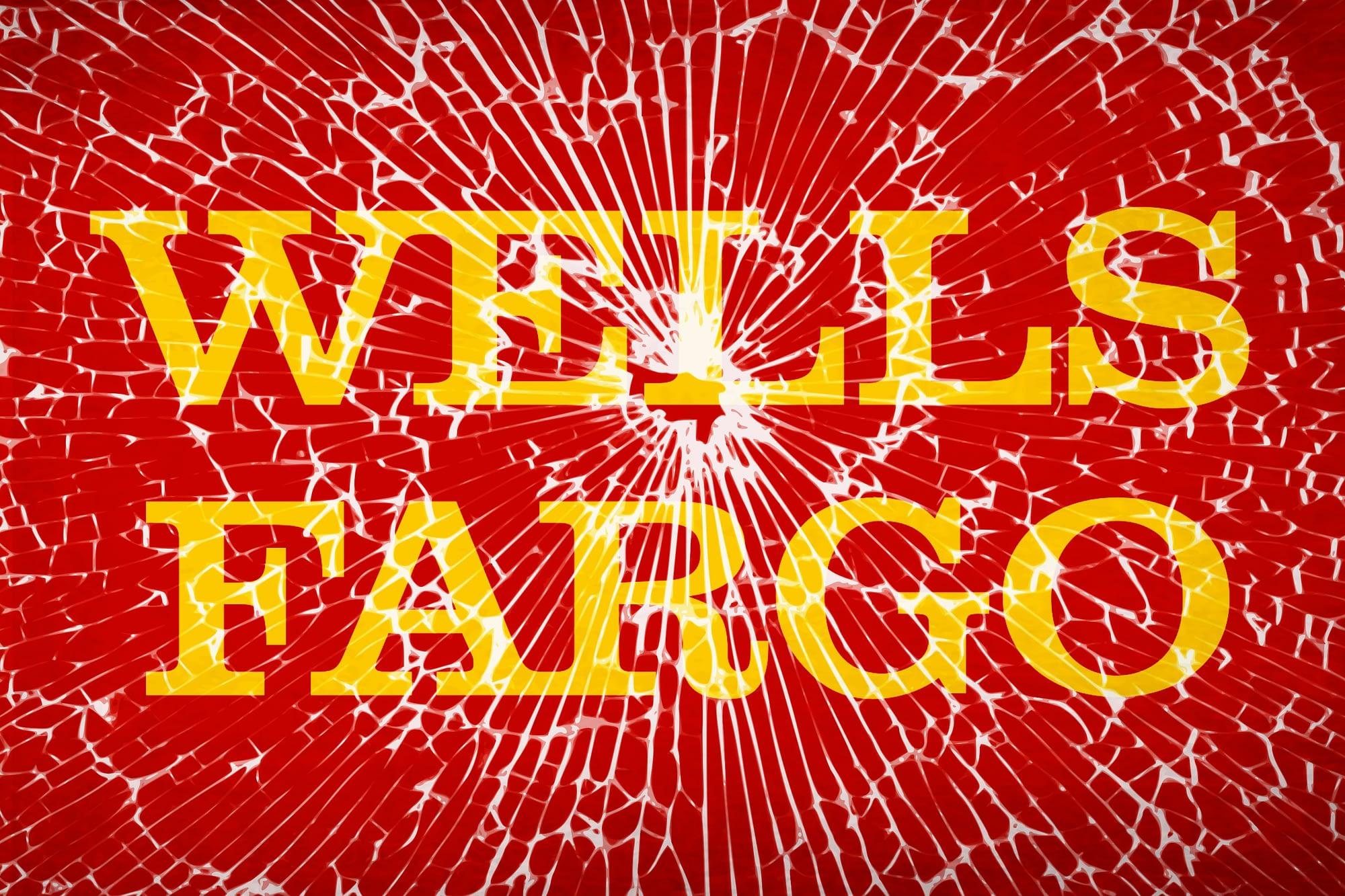 Illustration of Wells Fargo logo behind broken glass screen.