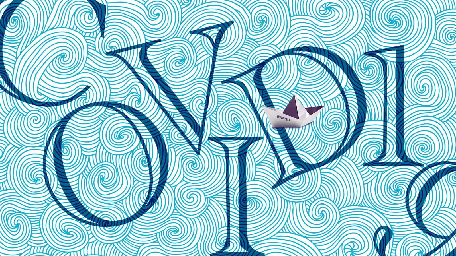 Illustration of small paper boat over the ocean with the words COVID-19