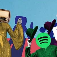 Illustration of figures like Spotify and Pandora tipping hat to radio.