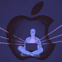 Illustration of person on laptop inside an Apple logo bubble.